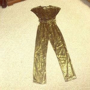 Vintage gold and black pants set
